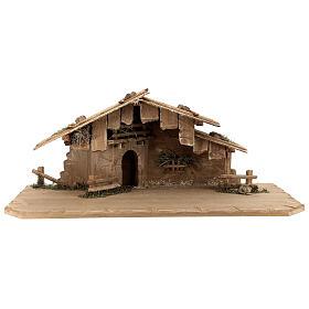 Cabane Sainte Nuit et set 12 pcs bois peint crèche Rainell 11 cm s4