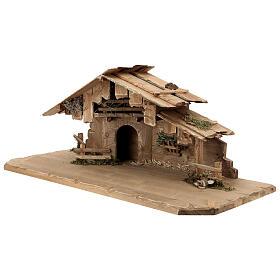 Cabane Sainte Nuit et set 12 pcs bois peint crèche Rainell 11 cm s6
