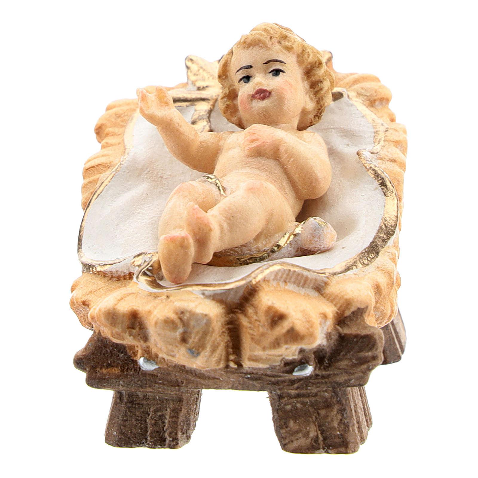 Bambinello in culla legno dipinto presepe Rainell 11 cm Val Gardena 4