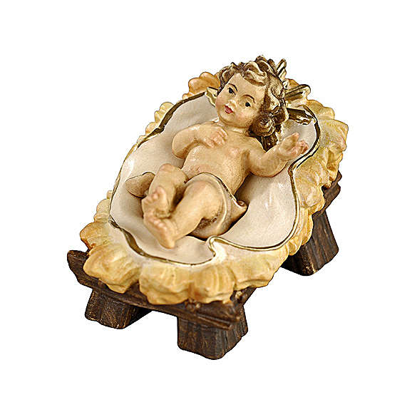 Baby Jesus in manger 11 cm, nativity Rainell, in painted wood 4
