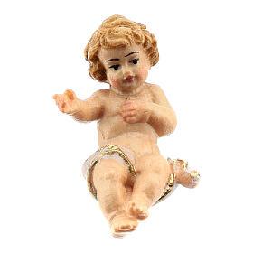 Bambinello legno dipinto presepe Rainell 11 cm Val Gardena s1