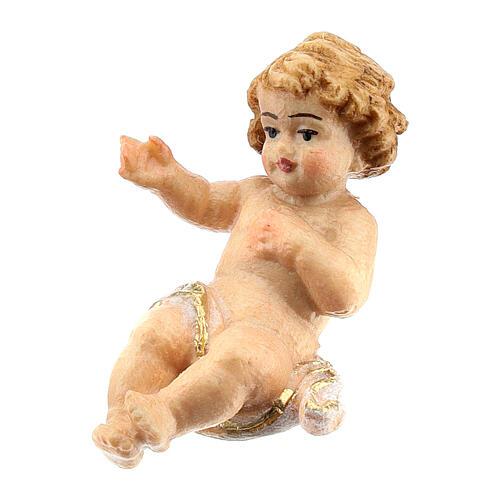 Bambinello legno dipinto presepe Rainell 11 cm Val Gardena 2
