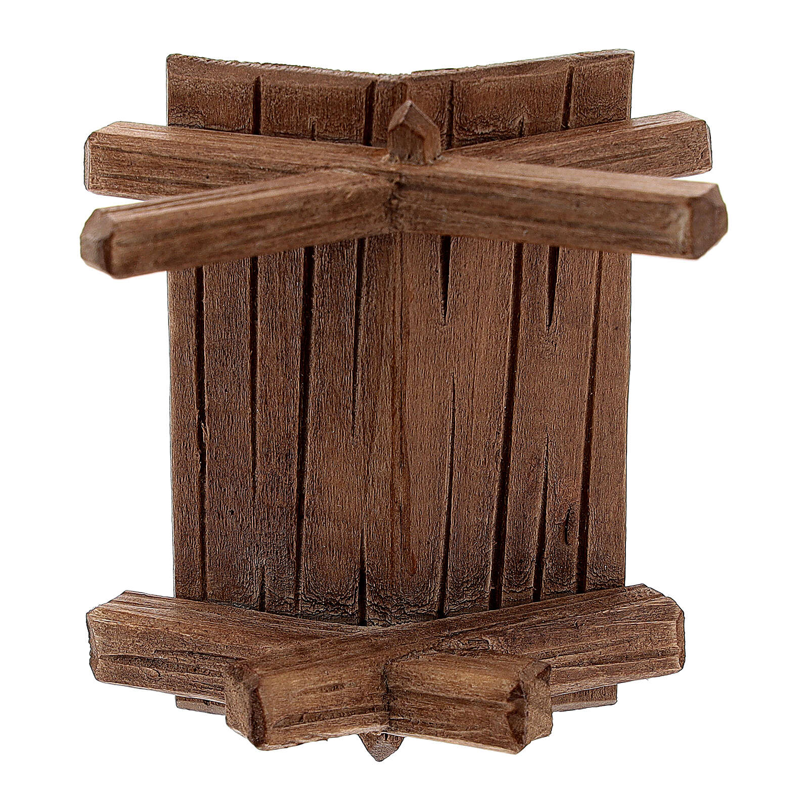 Simple manger in painted wood for 11 cm Rainell Nativity scene, Val Gardena 4