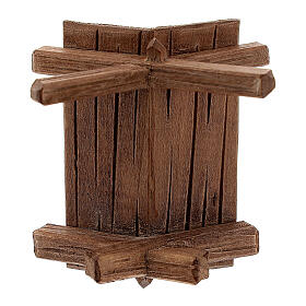 Simple manger in painted wood for 11 cm Rainell Nativity scene, Val Gardena s5