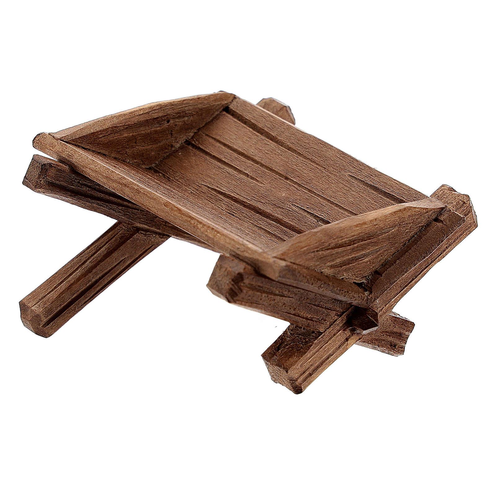 Cuna simple para Niño Jesús madera pintada belén Rainell 11 cm 4