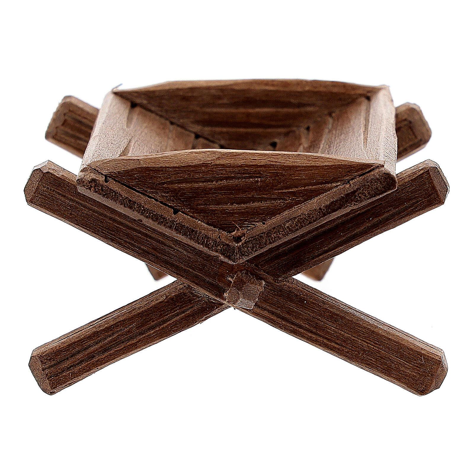 Culla semplice per Gesù bambino legno dipinto presepe Rainell 11 cm 4
