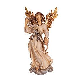 Ángel Gloria de madera pintada belén Rainell 9 cm Val Gardena s1