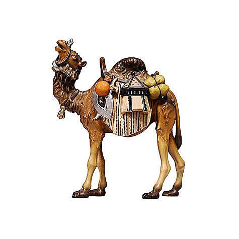 Chameau avec bagages bois peint crèche Rainell 9 cm Val Gardena 4
