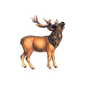Cerf bois peint crèche Rainell 9 cm Val Gardena s1