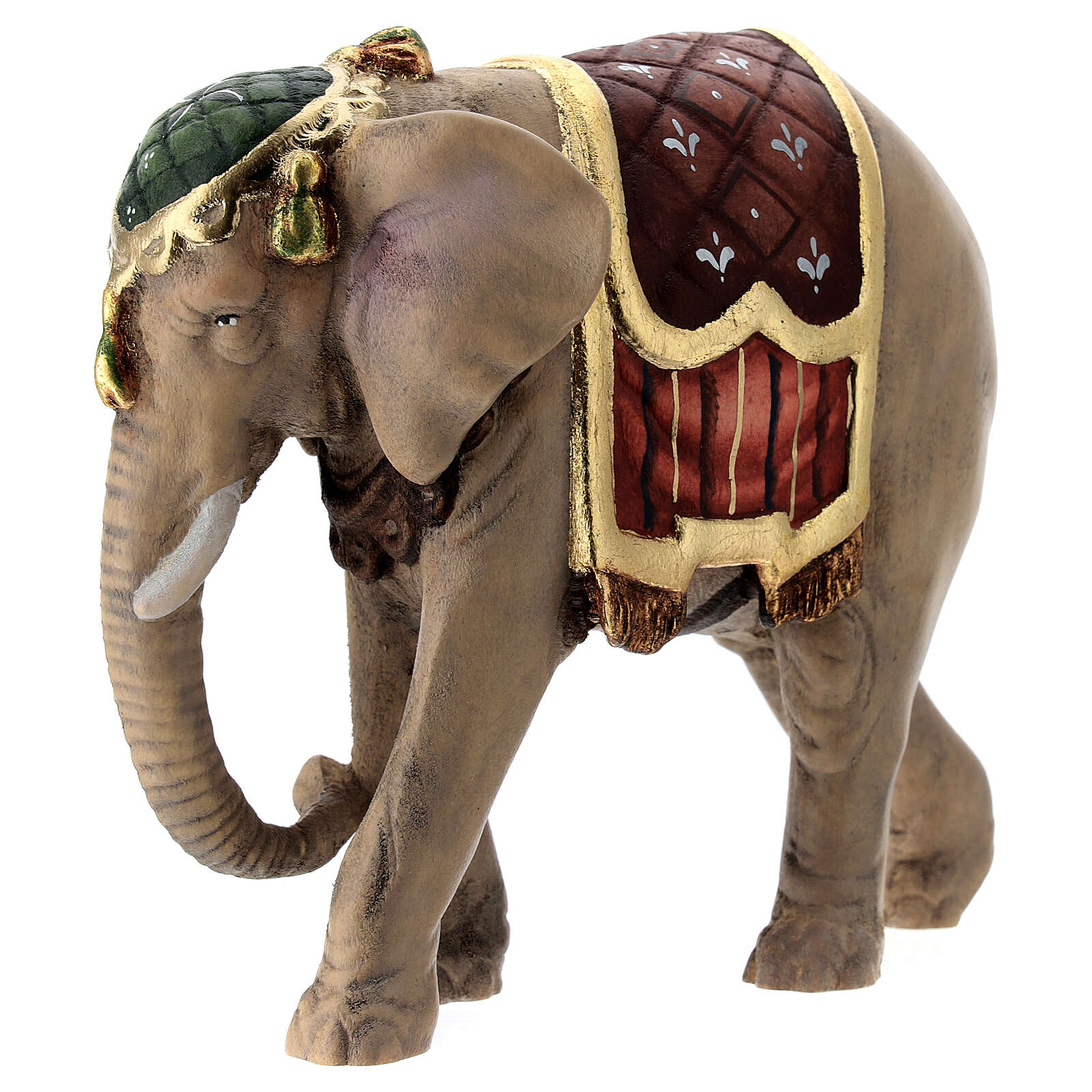 Elefante madera pintada belén Val Gardena Rainell 11 cm 4
