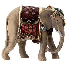 Elefante legno dipinto presepe Val Gardena Rainell 11 cm s1