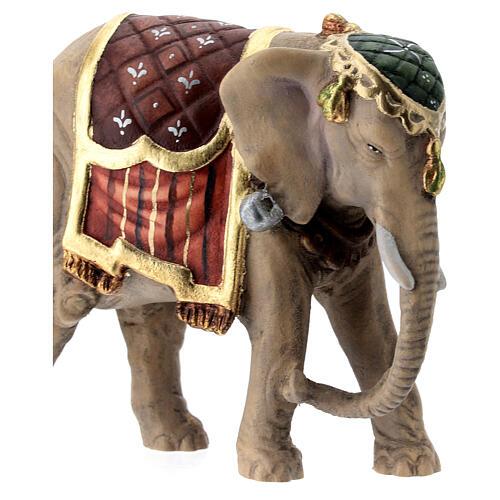 Elefante legno dipinto presepe Val Gardena Rainell 11 cm 2