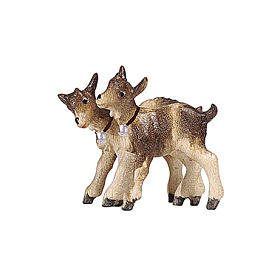 Baby goat pair, 9 cm nativity Rainell, in painted Valgardena wood s1