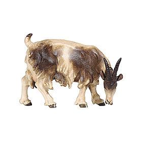 Chèvre qui mange tête à droite bois peint crèche Rainell 9 cm Val Gardena s1