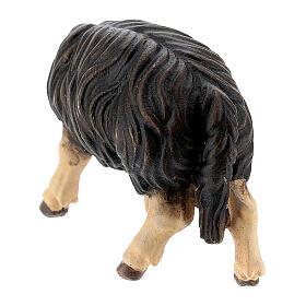 Mouton noir qui mange bois peint crèche Rainell Val Gardena 11 cm s3