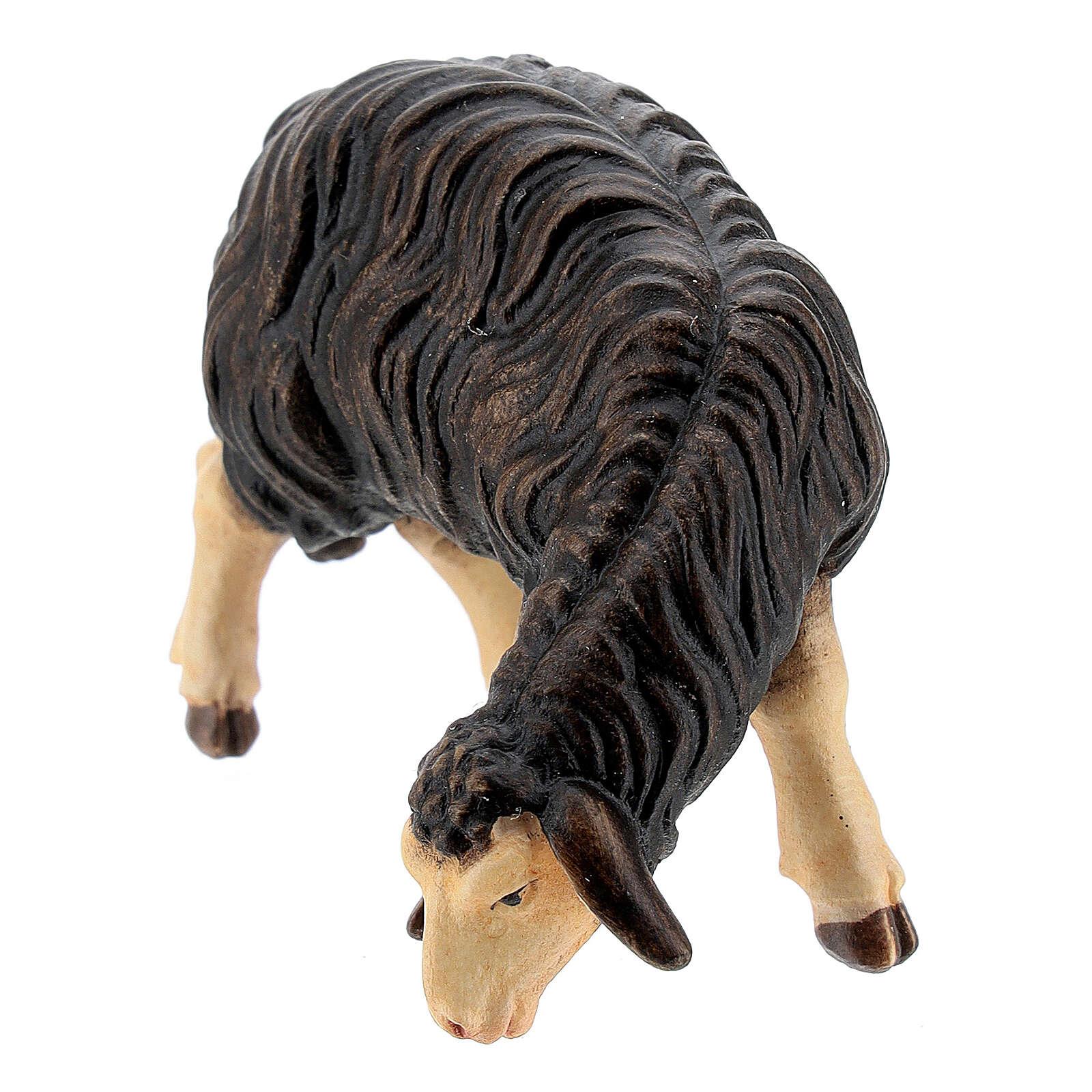Pecora nera mangia legno dipinto Val Gardena presepe Rainell 11 cm 4
