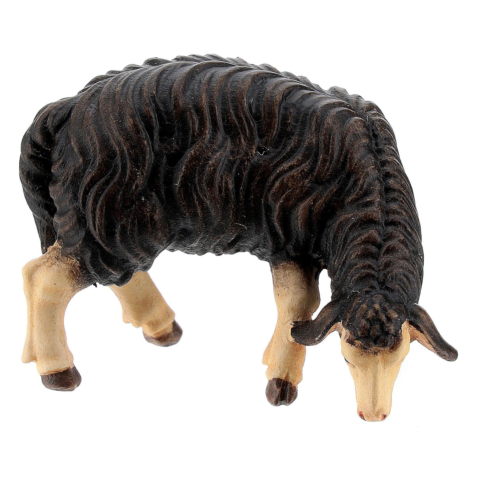 Dark sheep grazing, 11 cm nativity Rainell, in painted Val Gardena wood 4