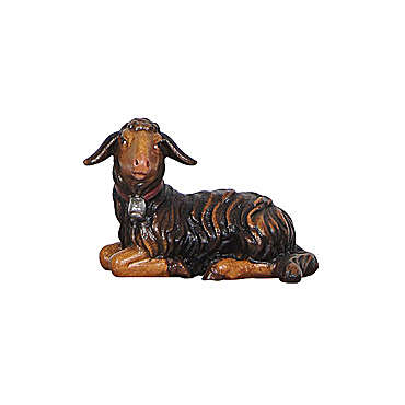 Black lamb lying, 9 cm nativity Rainell, in painted Valgardena wood 4