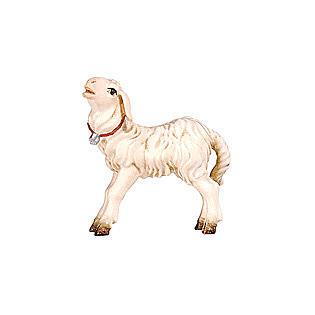 Agneau debout bois peint crèche Rainell Val Gardena 9 cm 1