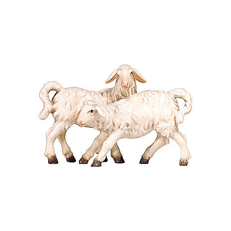 Groups of lambs in painted wood from Valgardena for Rainell Nativity Scene 9 cm 1