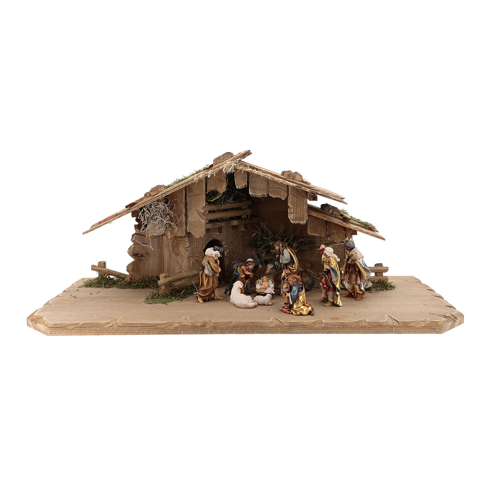 Holy Night hut 12 pieces in painted wood for Rainell Nativity Scene 9 cm 4