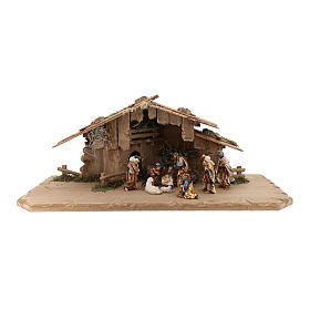 Holy Night hut 12 pieces in painted wood for Rainell Nativity Scene 9 cm s1