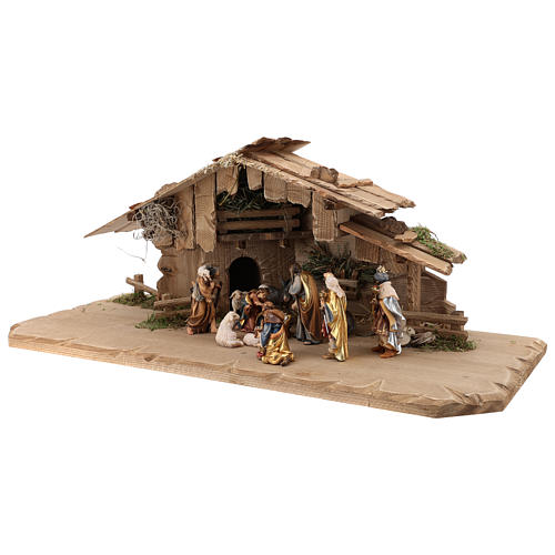 Holy Night hut 12 pieces in painted wood for Rainell Nativity Scene 9 cm 3