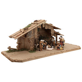 Cabaña Noche Sagrada set 12 piezas madera pintada belén Rainell 9 cm s4