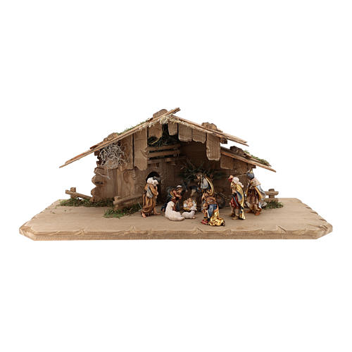 Cabaña Noche Sagrada set 12 piezas madera pintada belén Rainell 9 cm 1