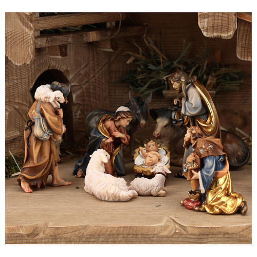 Cabaña Noche Sagrada set 12 piezas madera pintada belén Rainell 9 cm 2