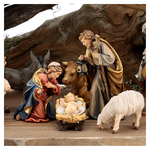 Large hut 12 pieces in painted wood from Val Gardena for Rainell Nativity Scene 11 cm 2