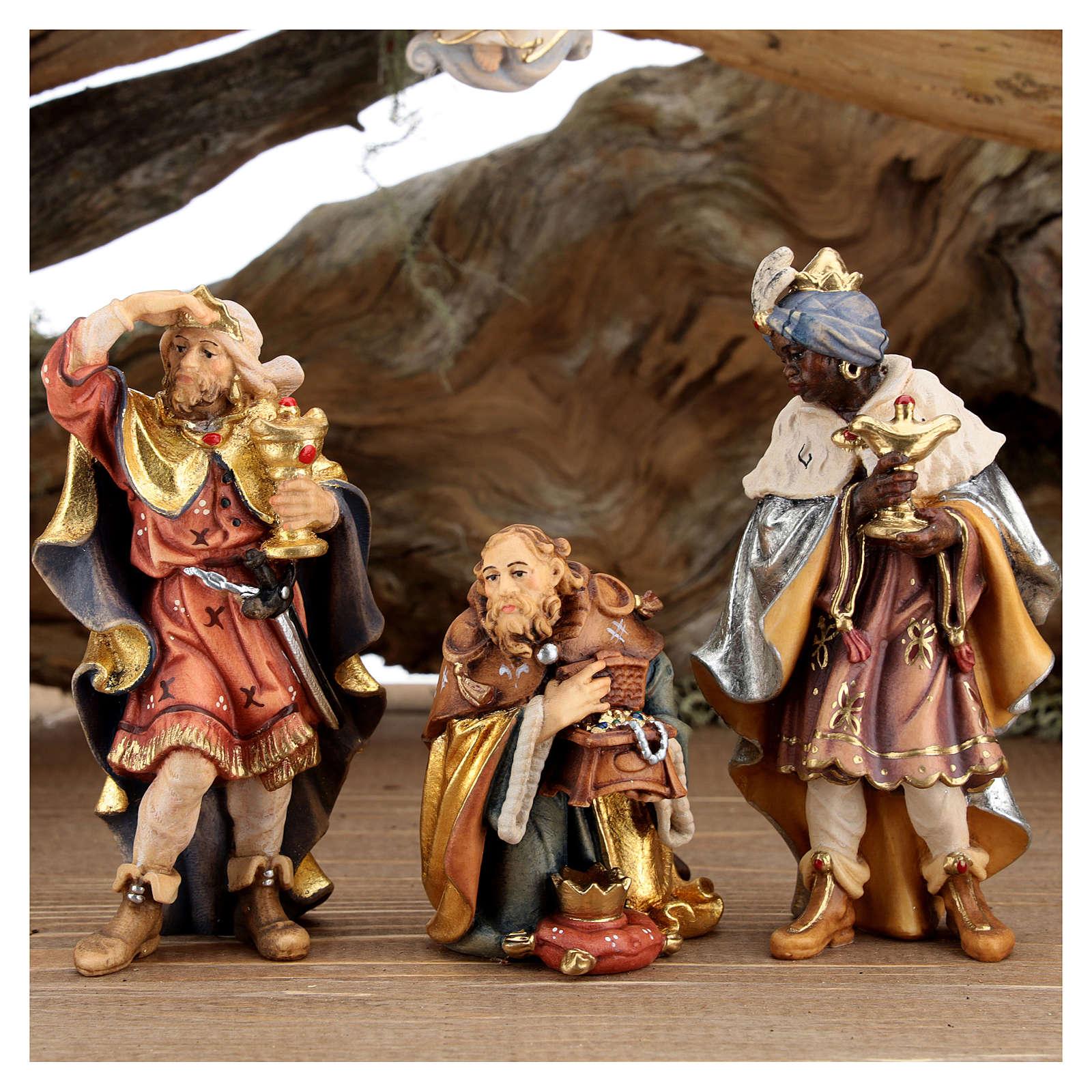 Capanna corteccia grande set 12 pezzi legno dipinto presepe Rainell 11 cm 4