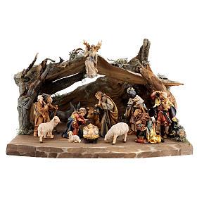 Capanna corteccia grande set 12 pezzi legno dipinto presepe Rainell 11 cm s1