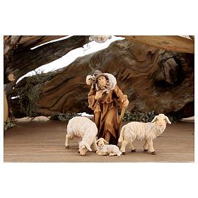 Capanna corteccia grande set 12 pezzi legno dipinto presepe Rainell 11 cm s5