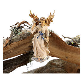 Capanna corteccia grande set 12 pezzi legno dipinto presepe Rainell 11 cm s6