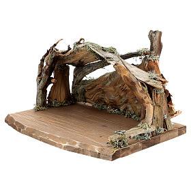 Capanna corteccia grande set 12 pezzi legno dipinto presepe Rainell 11 cm s11