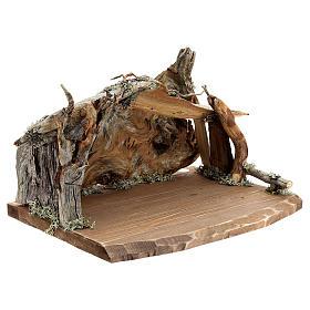 Capanna corteccia grande set 12 pezzi legno dipinto presepe Rainell 11 cm s14