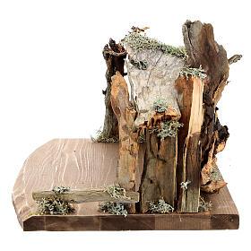 Capanna corteccia grande set 12 pezzi legno dipinto presepe Rainell 11 cm s16
