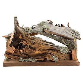 Capanna corteccia grande set 12 pezzi legno dipinto presepe Rainell 11 cm s17