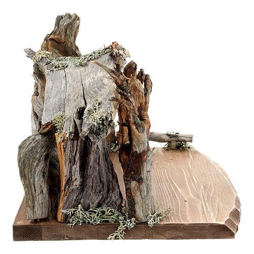 Capanna corteccia grande set 12 pezzi legno dipinto presepe Rainell 11 cm 15