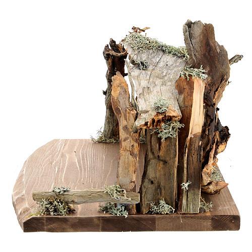 Capanna corteccia grande set 12 pezzi legno dipinto presepe Rainell 11 cm 16