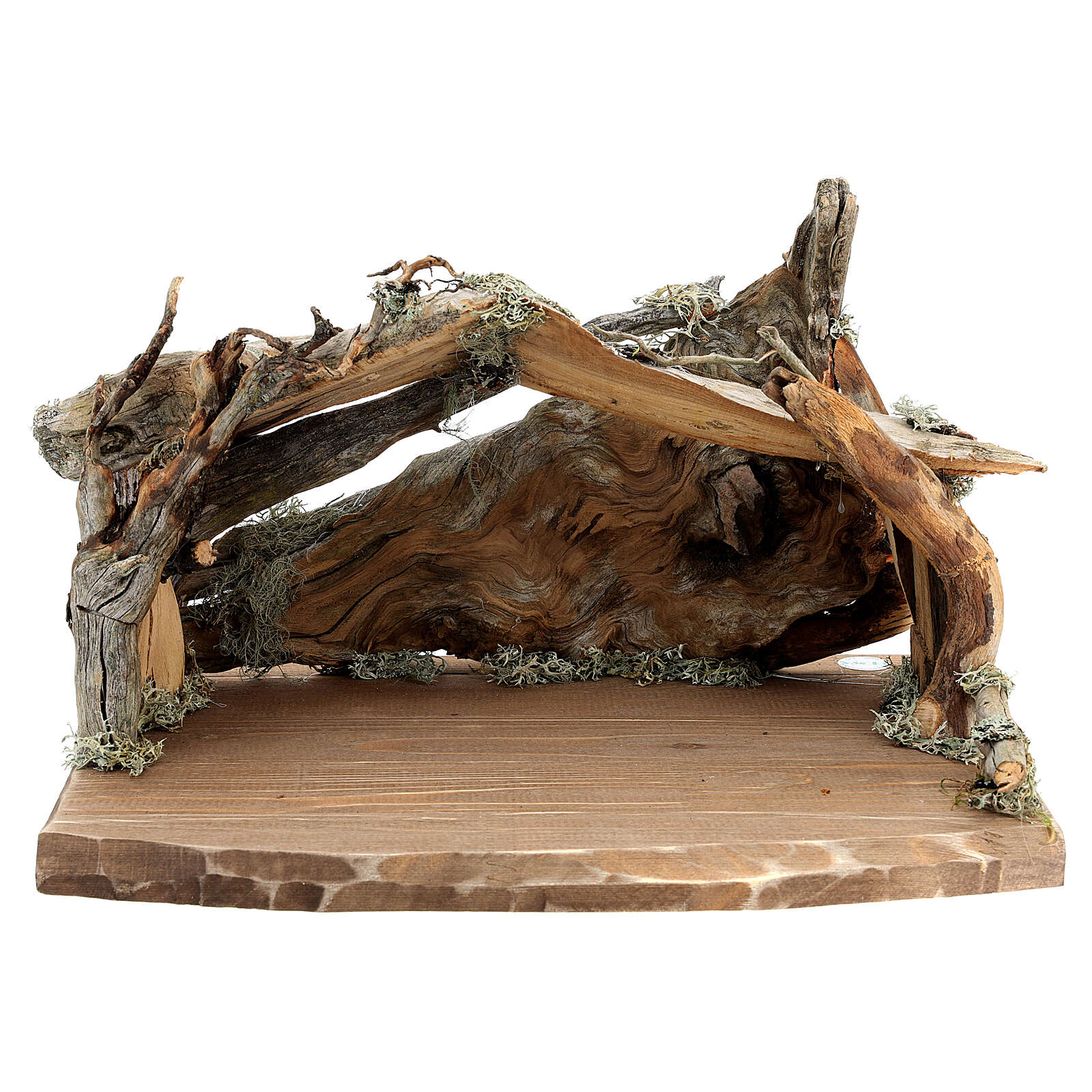 Wood bark stable with complete nativity, 12 pcs painted wood 11 cm Rainell 4
