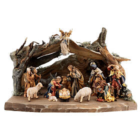 Wood bark stable with complete nativity, 12 pcs painted wood 11 cm Rainell s1