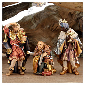 Wood bark stable with complete nativity, 12 pcs painted wood 11 cm Rainell s4