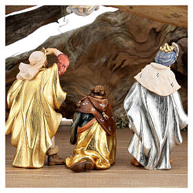 Wood bark stable with complete nativity, 12 pcs painted wood 11 cm Rainell s10