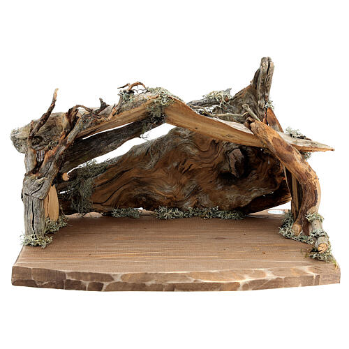 Wood bark stable with complete nativity, 12 pcs painted wood 11 cm Rainell 9