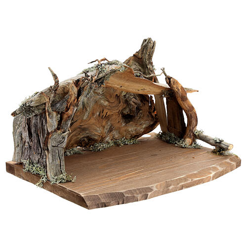 Wood bark stable with complete nativity, 12 pcs painted wood 11 cm Rainell 14
