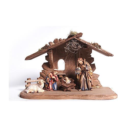 Cabane Tyrol pour Ste Famille 3 pcs bois peint crèche Rainell 9 cm Val Gardena 1