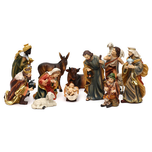 Complete nativity set Mathias model in colored resin 19 cm 1