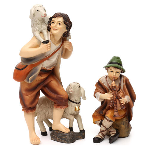 Complete nativity set Mathias model in colored resin 19 cm 3